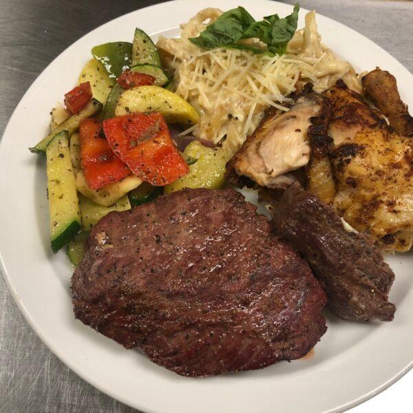 Barbecue Chicken, Tri-tip, sauteed veggies, fettuccine alfredo