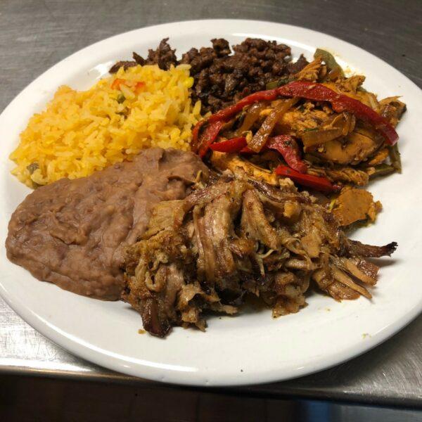 Carnitas, Chicken Fajita, Carne Asada, Refried Beans, Spanish Rice