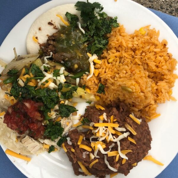 Refried Beans, Spanish Rice, Tacos