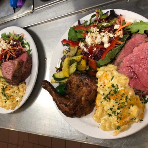 Tri-tip, mac n cheese, green salad, barbecue chicken